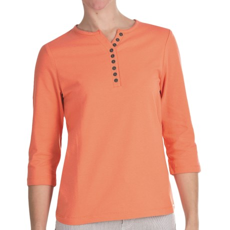 FDJ French Dressing Henley T-Shirt - 3/4 Sleeve, Cotton Jersey (For Women) in Coral