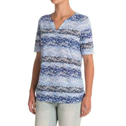FDJ French Dressing Horizontal Chevron Shirt - Short Sleeve (For Women) in Blue - Closeouts