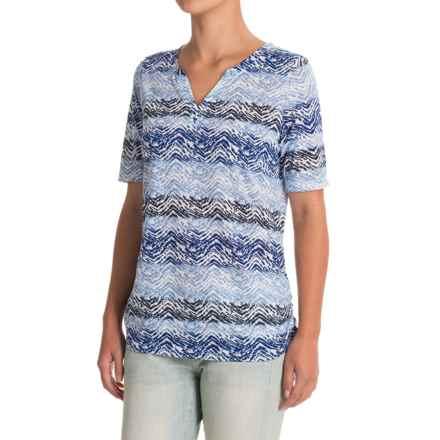 FDJ French Dressing Horizontal Chevron Shirt - Short Sleeve (For Women) in Blue - Closeouts