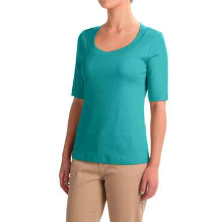 FDJ French Dressing Jersey Scoop Neck Shirt - Short Sleeve (For Women) in Seagreen - Closeouts