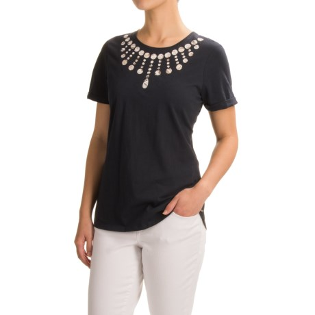 FDJ French Dressing Lacy Necklace T-Shirt - Short Sleeve (For Women) in Navy