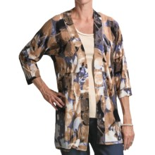 FDJ French Dressing Leaf Print Cardigan Sweater - 3/4 Sleeve (For Women) in Khaki - Closeouts