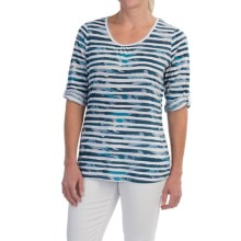 FDJ French Dressing Multi-Cloud Stripe Shirt - 3/4 Sleeve (For Women) in Blue - Closeouts