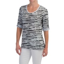 FDJ French Dressing Multi-Cloud Stripe Shirt - 3/4 Sleeve (For Women) in Grey - Closeouts