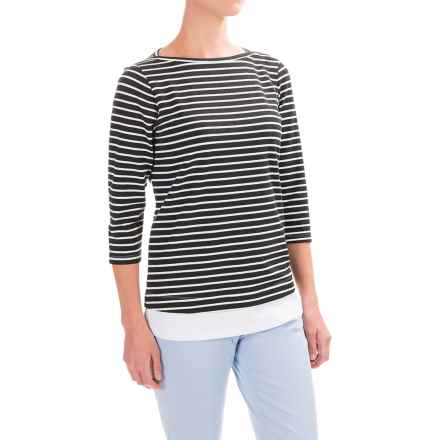 FDJ French Dressing Nautical Stripe Fooler Shirt - Elbow Sleeve (For Women) in Black/White - Closeouts