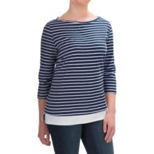FDJ French Dressing Nautical Stripe Fooler Shirt - Elbow Sleeve (For Women) in Indigo - Closeouts