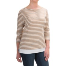 FDJ French Dressing Nautical Stripe Fooler Shirt - Elbow Sleeve (For Women) in Tan - Closeouts