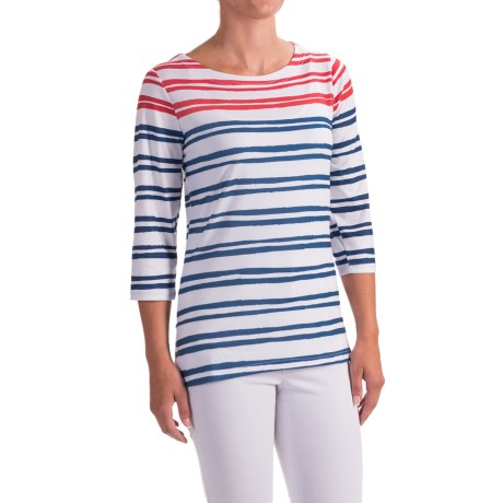 FDJ French Dressing Painted Nautical Stripe Shirt - 3/4 Sleeve (For Women) in Navy/Red Multi
