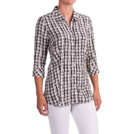 FDJ French Dressing Painterly Plaid Shirt - 3/4 Sleeve (For Women) in Black - Closeouts