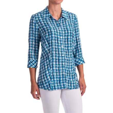 FDJ French Dressing Painterly Plaid Shirt - 3/4 Sleeve (For Women) in Indigo - Closeouts