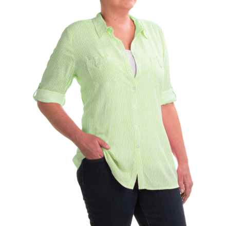 FDJ French Dressing Paintly Striped Tunic Blouse - Viscose, 3/4 Sleeve (For Women) in White/Lime - Closeouts