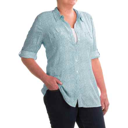 FDJ French Dressing Paintly Striped Tunic Blouse - Viscose, 3/4 Sleeve (For Women) in White/Seafoam - Closeouts