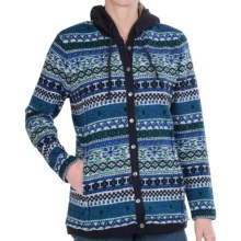 FDJ French Dressing Printed Sweater Hoodie - Button Front (For Women) in Navy - Closeouts