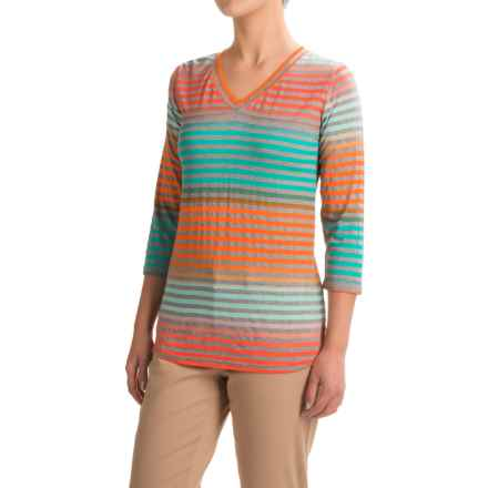 FDJ French Dressing Rainbow Stripe Shirt - 3/4 Sleeve (For Women) in Multi - Closeouts