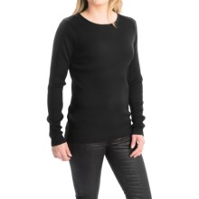 FDJ French Dressing Rib-Knit Fine Gauge Sweater - Crew Neck (For Women) in Black - Closeouts