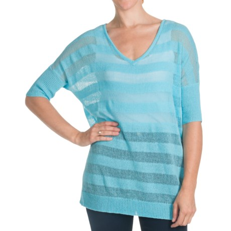 FDJ French Dressing Shadow Stripe Sweater - 3/4 Sleeve (For Women) in Tomato