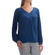 FDJ French Dressing Silk Blouse - V-Neck, Long Sleeve (For Women) in Ink - Overstock