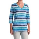 FDJ French Dressing Smart Coordinator Stripe T-Shirt - V-Neck, 3/4 Sleeve (For Women)