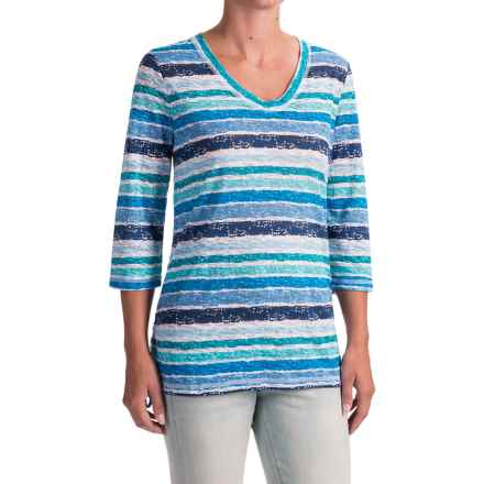 FDJ French Dressing Smart Coordinator Stripe T-Shirt - V-Neck, 3/4 Sleeve (For Women) in Blue Multi - Closeouts