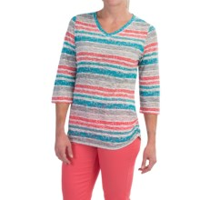 FDJ French Dressing Smart Coordinator Stripe T-Shirt - V-Neck, 3/4 Sleeve (For Women) in Multi - Closeouts