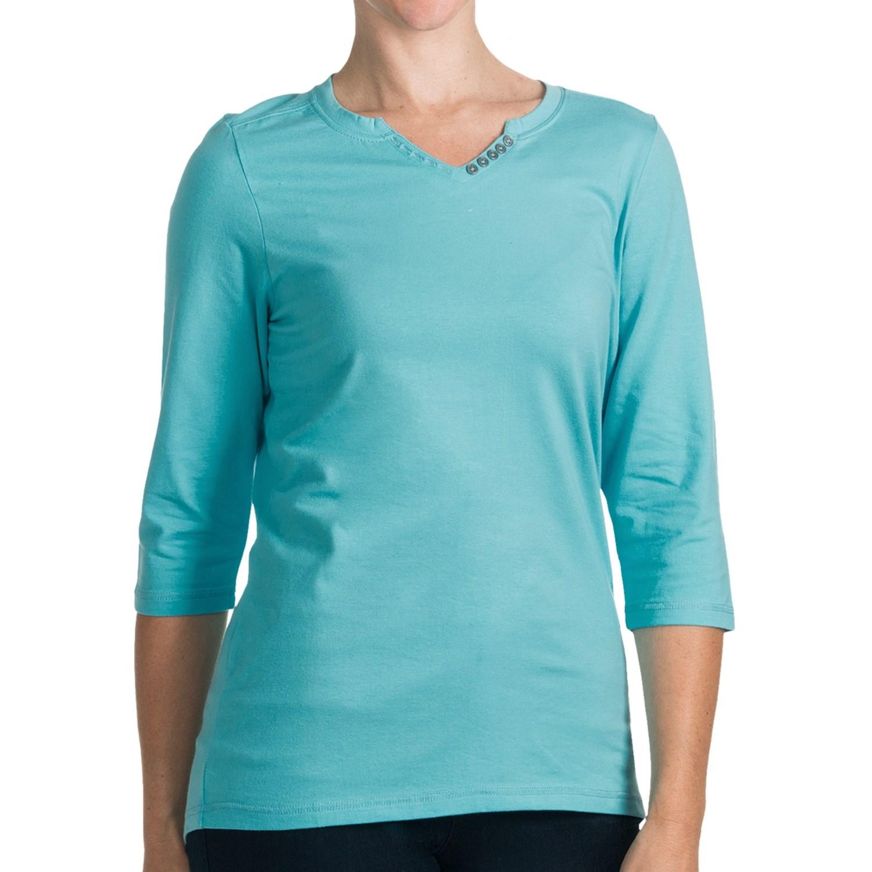 Fdj french dressing solid henley shirt v neck 3 4 for 3 4 henley shirt