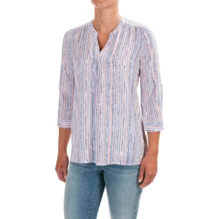 FDJ French Dressing Speckled Stripe Popover Viscose Blouse - 3/4 Sleeve (For Women) in Multi - Closeouts