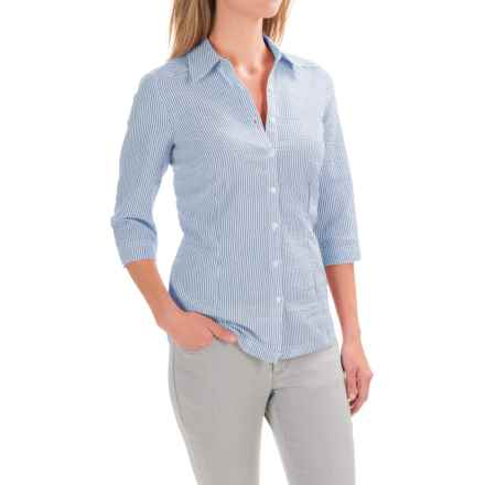 FDJ French Dressing Striped Seersucker Blouse - 3/4 Sleeve (For Women) in Navy - Closeouts