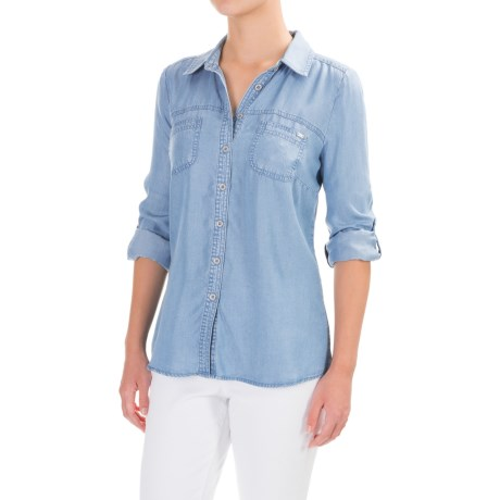 FDJ French Dressing TENCEL® Shirt - Roll-Up Long Sleeve (For Women) in Chambray