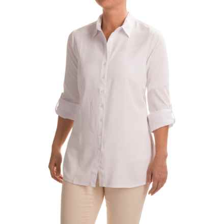 FDJ French Dressing Ultimate Twill Tunic Blouse - Long Sleeve (For Women) in White - Closeouts
