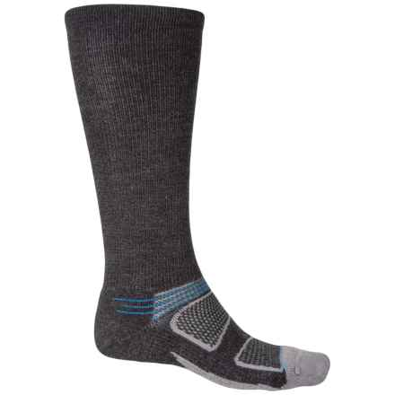 Feetures Elite Merino+ Cushion Socks - Merino Wool, Crew (For Men and Women) in Charcoal/Brilliant Blue - Closeouts