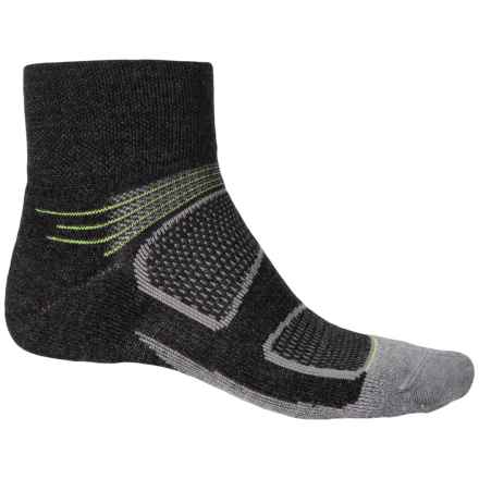 Feetures Elite Merino+ Cushion Socks - Merino Wool, Quarter Crew (For Men and Women) in Charcoal/Reflector - Closeouts