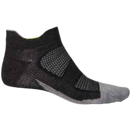 Feetures Elite Merino+ Ultralight No-Show Tab Socks - Below the Ankle (For Men and Women) in Charcoal/Reflector - Closeouts
