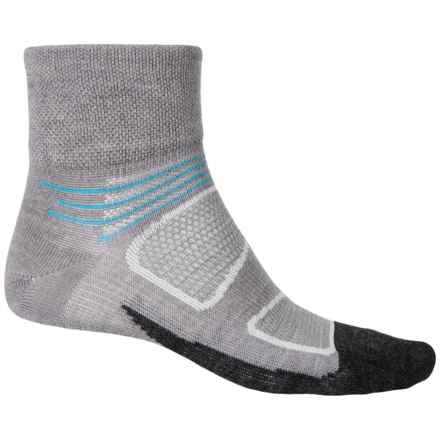 Feetures Elite Merino+ Ultralight Quarter Socks - Merino-Wool, Quarter Crew (For Men and Women) in Gray/Hawaiian Blue - Closeouts