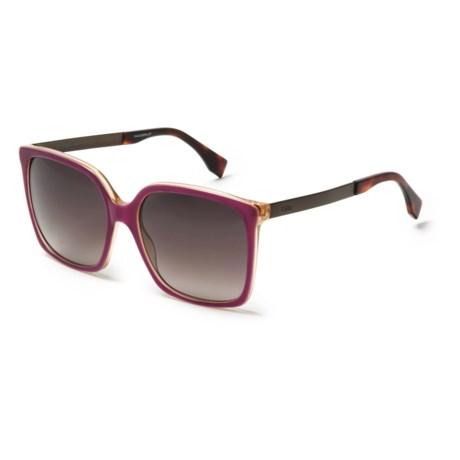 Fendi Large Rectangle Sunglasses (For Women) in Burgundy/Brown Gradient