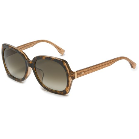 Fendi Square Sunglasses - Large Fit (For Women) in Havana Brown Gradient