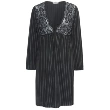 Feraud Paris Lace and Pinstripe Robe - Long Sleeve (For Women) in Black/White - Closeouts