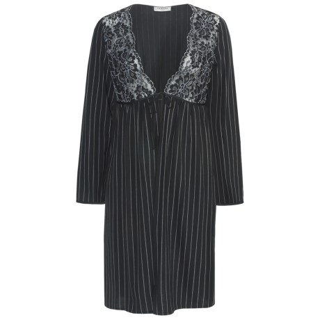 Feraud Paris Lace and Pinstripe Robe - Long Sleeve (For Women) in Black/White