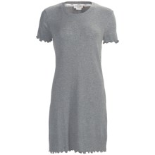 Feraud Paris Rib-Knit Nightshirt - Short Sleeve (For Women) in Dark Grey Heather - Closeouts