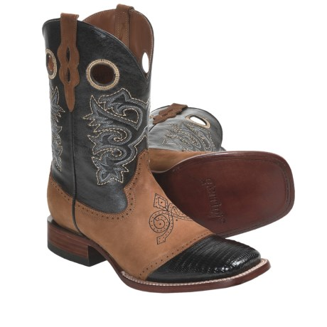 "Ferrini Lizard Saddle Vamp Cowboy Boots - 11"", S-Toe (For Men) in Black"