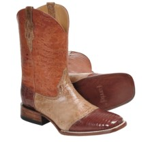 "Ferrini Lizard Saddle Vamp Western Boots - 11"", S-Toe (For Men) in Peanut/Marble Tan - Closeouts"