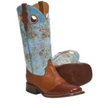 "Ferrini Lizard Saddle Vamp Western Boots - 12"", S-Toe (For Women) in Peanut/Blue - Closeouts"