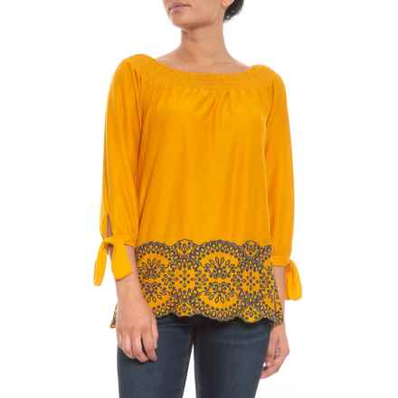 "Fever ""Artist's Embro"" Blouse with Embroidery - 3/4 Sleeve (For Women) in Golden Yellow/Dress Blue - Closeouts"