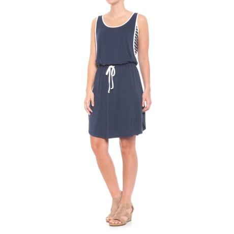 Fever Blue Self & Stripe Dress - Sleeveless (For Women) in Dress Blue