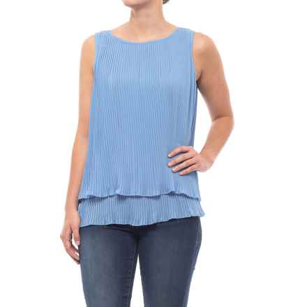 Fever Frilled Bottom Blouse - Sleeveless (For Women) in Silver Lake Blue - Closeouts