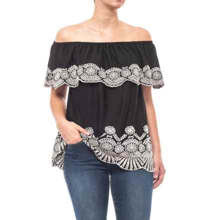 Fever Pamelia Eyelet Blouse - Sleeveless (For Women) in Black/White - Closeouts