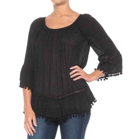 Fever PomPom Blouse - 3/4 Sleeve (For Women) in Black