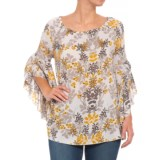 Fever Ruffled Bell Sleeve Printed Blouse - Long Sleeve (For Women)