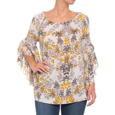 Fever Ruffled Bell Sleeve Printed Blouse - Long Sleeve (For Women) in Reflection Off Water/Glacier Grey - Closeouts