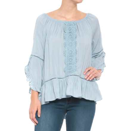 Fever Solid Bell Sleeve Blouse - 3/4 Sleeve (For Women) in Dusty Blue - Closeouts