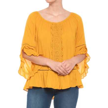 Fever Solid Bell Sleeve Blouse - 3/4 Sleeve (For Women) in Golden Yellow - Closeouts